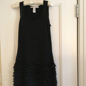 DVF silk/wool knit tank ruffle skirt dress